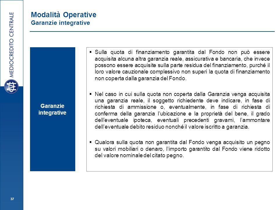 37 Garanzie integrative Sulla quota di finanziamento garantita dal Fondo non può essere acquisita alcuna altra garanzia reale, assicurativa e bancaria