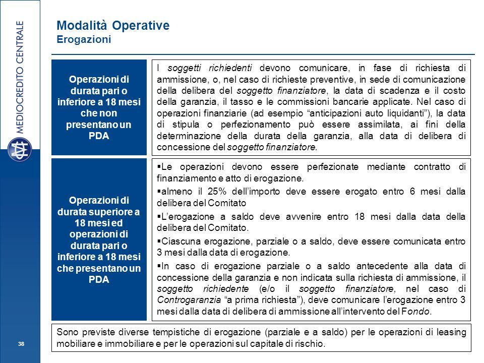38 Modalità Operative Erogazioni I soggetti richiedenti devono comunicare, in fase di richiesta di ammissione, o, nel caso di richieste preventive, in