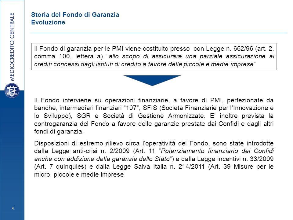 4 Il Fondo interviene su operazioni finanziarie, a favore di PMI, perfezionate da banche, intermediari finanziari 107, SFIS (Società Finanziarie per l