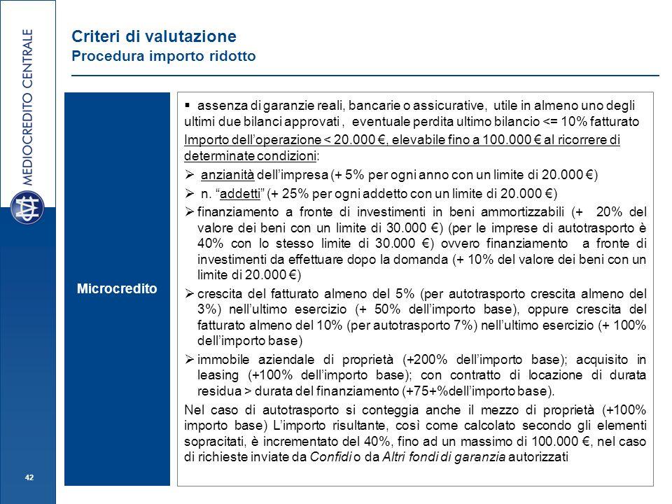 42 Criteri di valutazione Procedura importo ridotto assenza di garanzie reali, bancarie o assicurative, utile in almeno uno degli ultimi due bilanci a