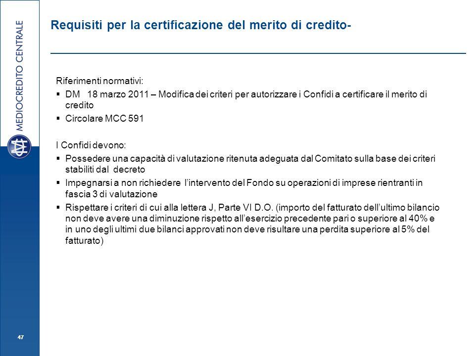 47 Requisiti per la certificazione del merito di credito- Riferimenti normativi: DM 18 marzo 2011 – Modifica dei criteri per autorizzare i Confidi a c