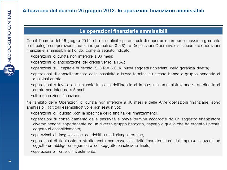 57 Attuazione del decreto 26 giugno 2012: le operazioni finanziarie ammissibili Le operazioni finanziarie ammissibili Con il Decreto del 26 giugno 201