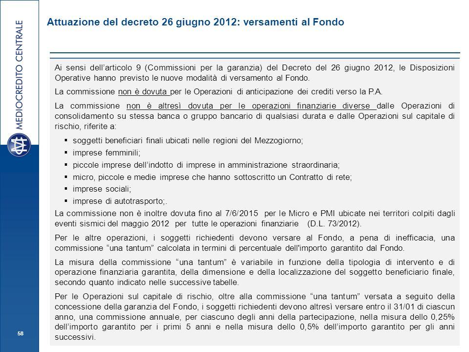 58 Attuazione del decreto 26 giugno 2012: versamenti al Fondo Versamenti al Fondo Ai sensi dellarticolo 9 (Commissioni per la garanzia) del Decreto del 26 giugno 2012, le Disposizioni Operative hanno previsto le nuove modalità di versamento al Fondo.