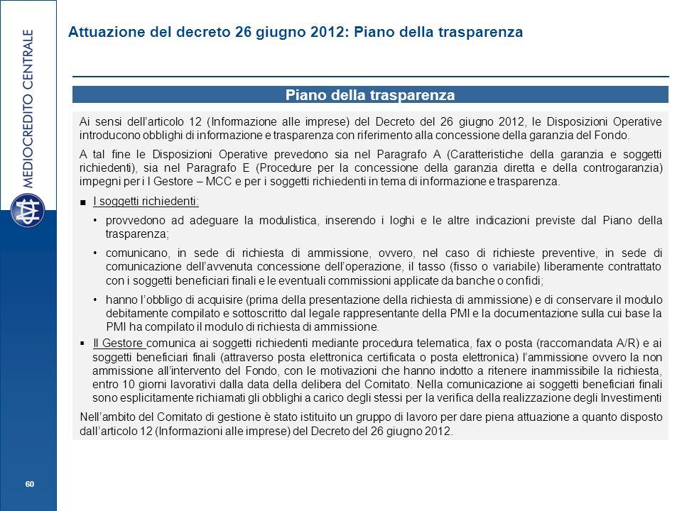 60 Attuazione del decreto 26 giugno 2012: Piano della trasparenza Piano della trasparenza Ai sensi dellarticolo 12 (Informazione alle imprese) del Dec
