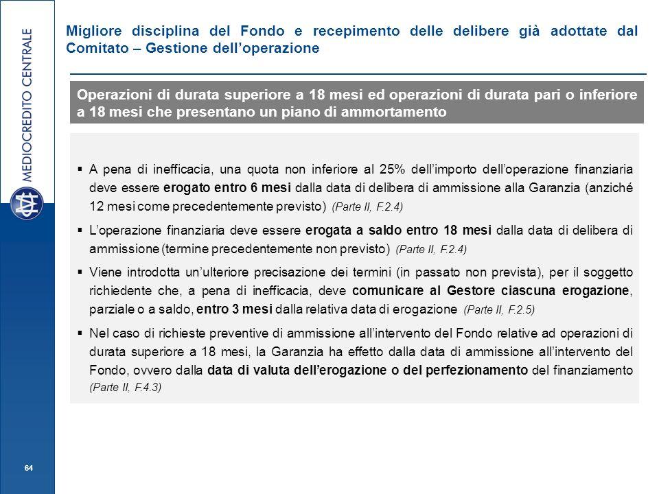 64 Migliore disciplina del Fondo e recepimento delle delibere già adottate dal Comitato – Gestione delloperazione Operazioni di durata superiore a 18