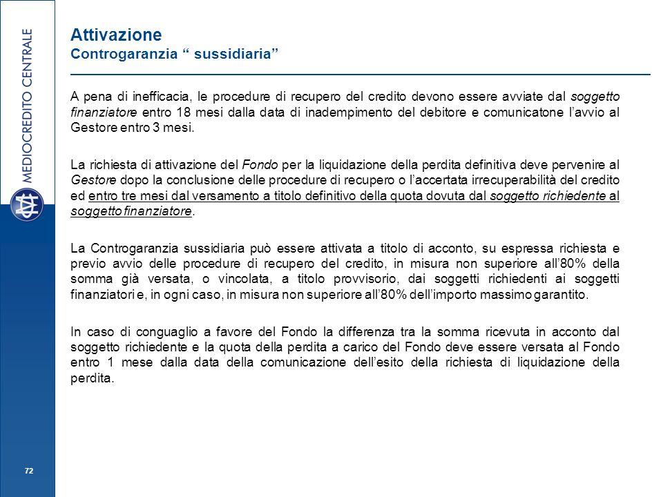 72 Attivazione Controgaranzia sussidiaria A pena di inefficacia, le procedure di recupero del credito devono essere avviate dal soggetto finanziatore