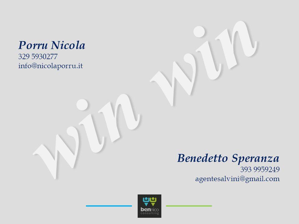 win win Porru Nicola 329 5930277 info@nicolaporru.it Benedetto Speranza 393 9959249 agentesalvini@gmail.com