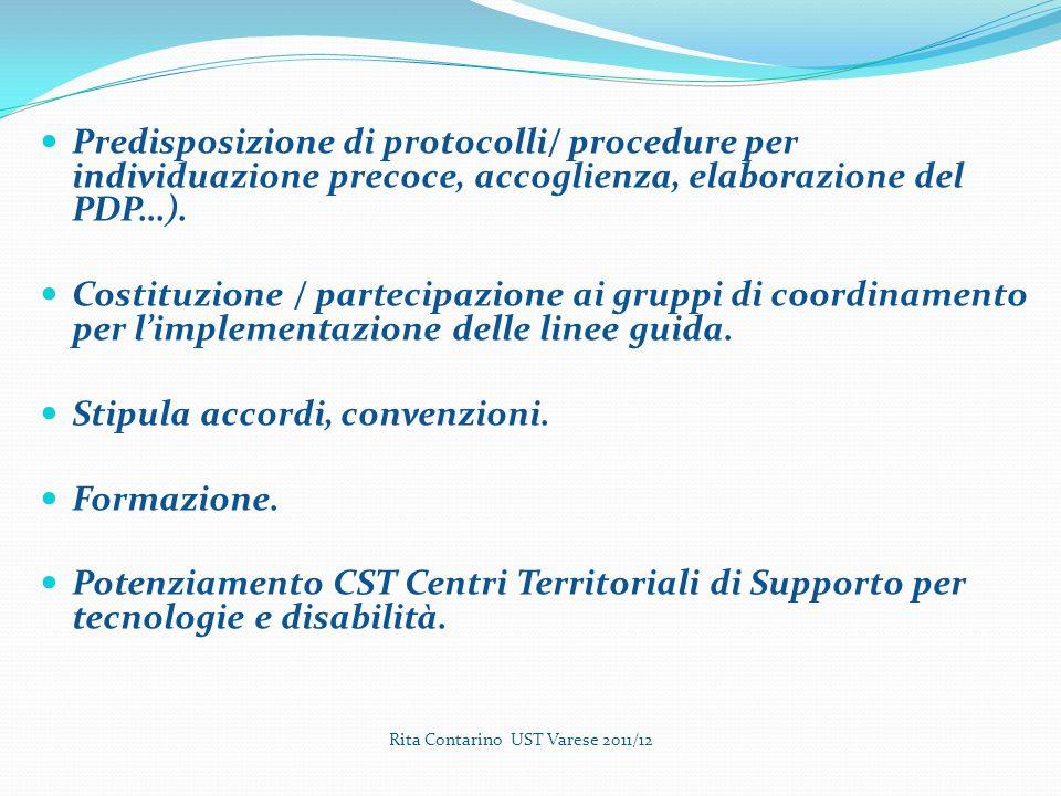 Predisposizione di protocolli/ procedure per individuazione precoce, accoglienza, elaborazione del PDP…).