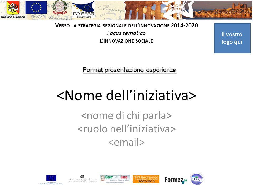 Il vostro logo qui V ERSO LA STRATEGIA REGIONALE DELL INNOVAZIONE 2014-2020 Focus tematico L INNOVAZIONE SOCIALE Format presentazione esperienza