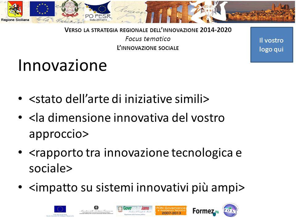 Il vostro logo qui V ERSO LA STRATEGIA REGIONALE DELL INNOVAZIONE 2014-2020 Focus tematico L INNOVAZIONE SOCIALE Innovazione