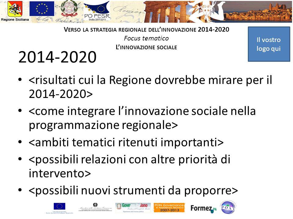 Il vostro logo qui V ERSO LA STRATEGIA REGIONALE DELL INNOVAZIONE 2014-2020 Focus tematico L INNOVAZIONE SOCIALE 2014-2020