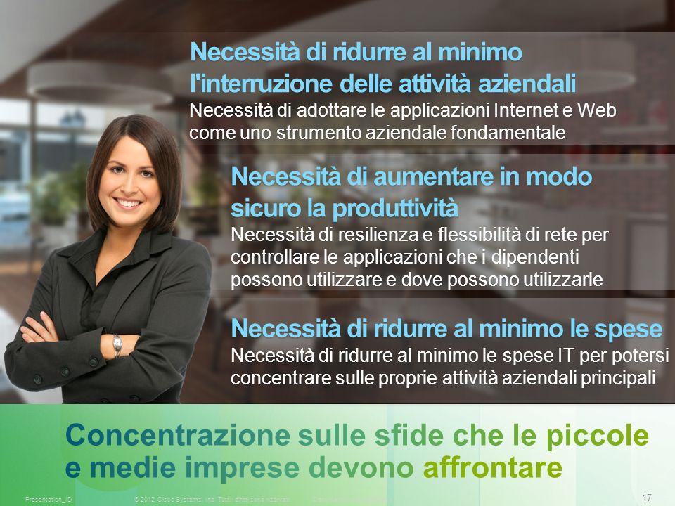 17 © 2012 Cisco Systems, Inc. Tutti i diritti sono riservati.Documento riservato CiscoPresentation_ID Necessità di ridurre al minimo l'interruzione de