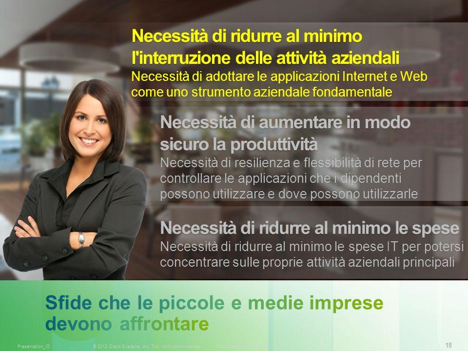 18 © 2012 Cisco Systems, Inc. Tutti i diritti sono riservati.Documento riservato CiscoPresentation_ID Necessità di ridurre al minimo l'interruzione de