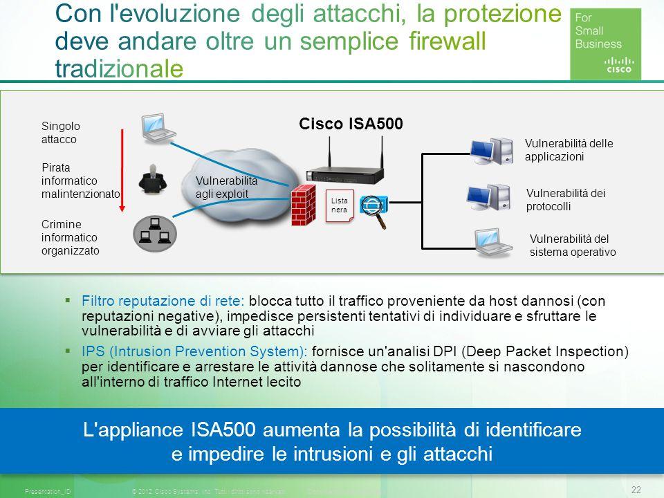 22 © 2012 Cisco Systems, Inc. Tutti i diritti sono riservati.Documento riservato CiscoPresentation_ID Filtro reputazione di rete: blocca tutto il traf