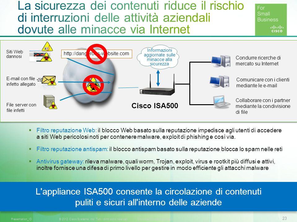 23 © 2012 Cisco Systems, Inc. Tutti i diritti sono riservati.Documento riservato CiscoPresentation_ID Filtro reputazione Web: il blocco Web basato sul