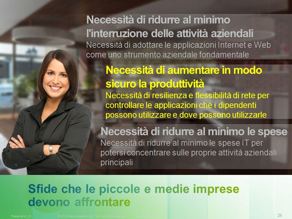 26 © 2012 Cisco Systems, Inc. Tutti i diritti sono riservati.Documento riservato CiscoPresentation_ID Necessità di ridurre al minimo l'interruzione de