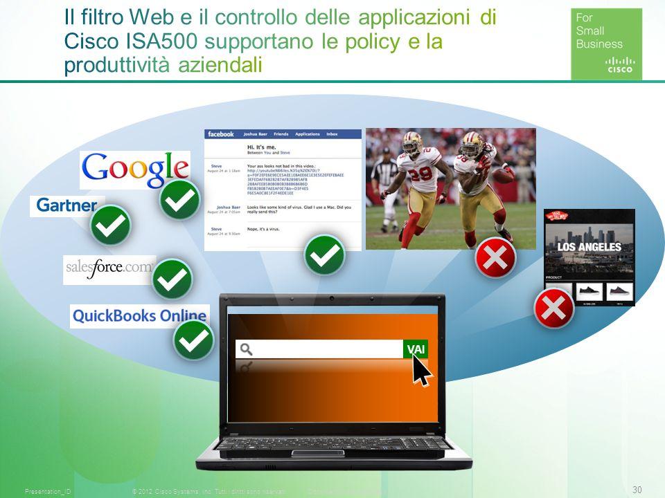30 © 2012 Cisco Systems, Inc. Tutti i diritti sono riservati.Documento riservato CiscoPresentation_ID VAI