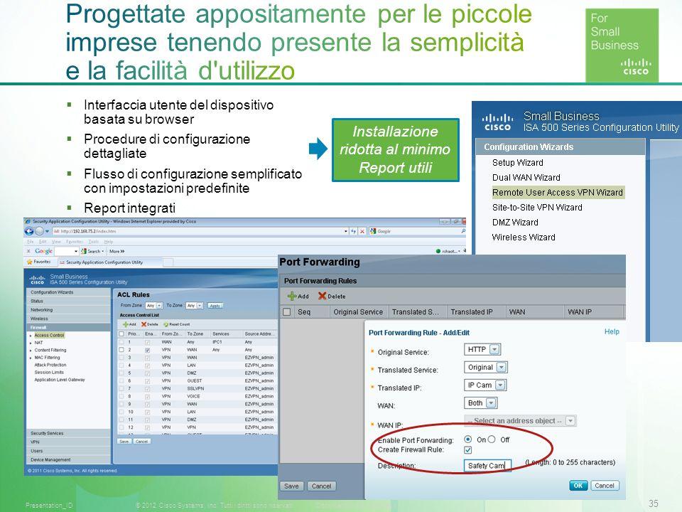 35 © 2012 Cisco Systems, Inc. Tutti i diritti sono riservati.Documento riservato CiscoPresentation_ID Interfaccia utente del dispositivo basata su bro