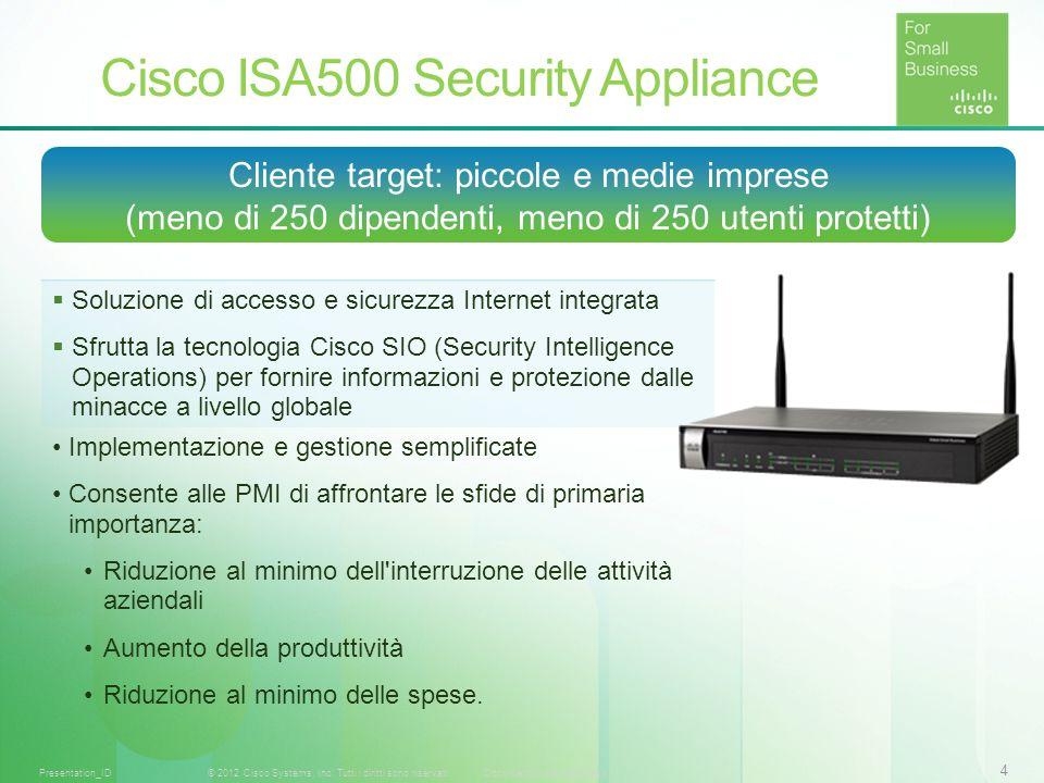 4 © 2012 Cisco Systems, Inc. Tutti i diritti sono riservati.Documento riservato CiscoPresentation_ID Cliente target: piccole e medie imprese (meno di