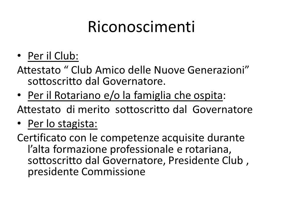 Riconoscimenti Per il Club: Attestato Club Amico delle Nuove Generazioni sottoscritto dal Governatore. Per il Rotariano e/o la famiglia che ospita: At