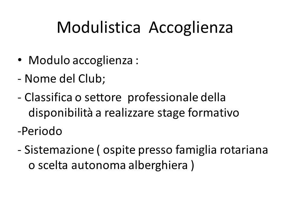 Modulistica Accoglienza Modulo accoglienza : - Nome del Club; - Classifica o settore professionale della disponibilità a realizzare stage formativo -Periodo - Sistemazione ( ospite presso famiglia rotariana o scelta autonoma alberghiera )