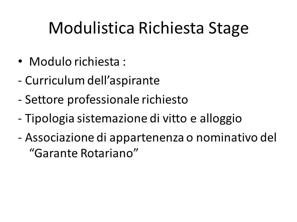 Modulistica Richiesta Stage Modulo richiesta : - Curriculum dellaspirante - Settore professionale richiesto - Tipologia sistemazione di vitto e alloggio - Associazione di appartenenza o nominativo del Garante Rotariano