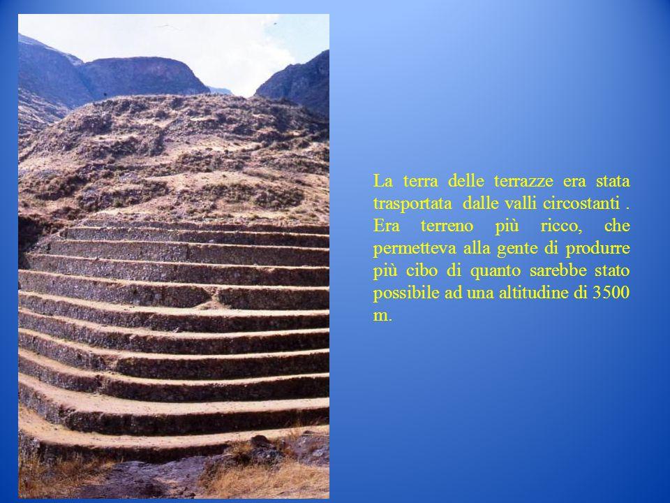 La terra delle terrazze era stata trasportata dalle valli circostanti. Era terreno più ricco, che permetteva alla gente di produrre più cibo di quanto