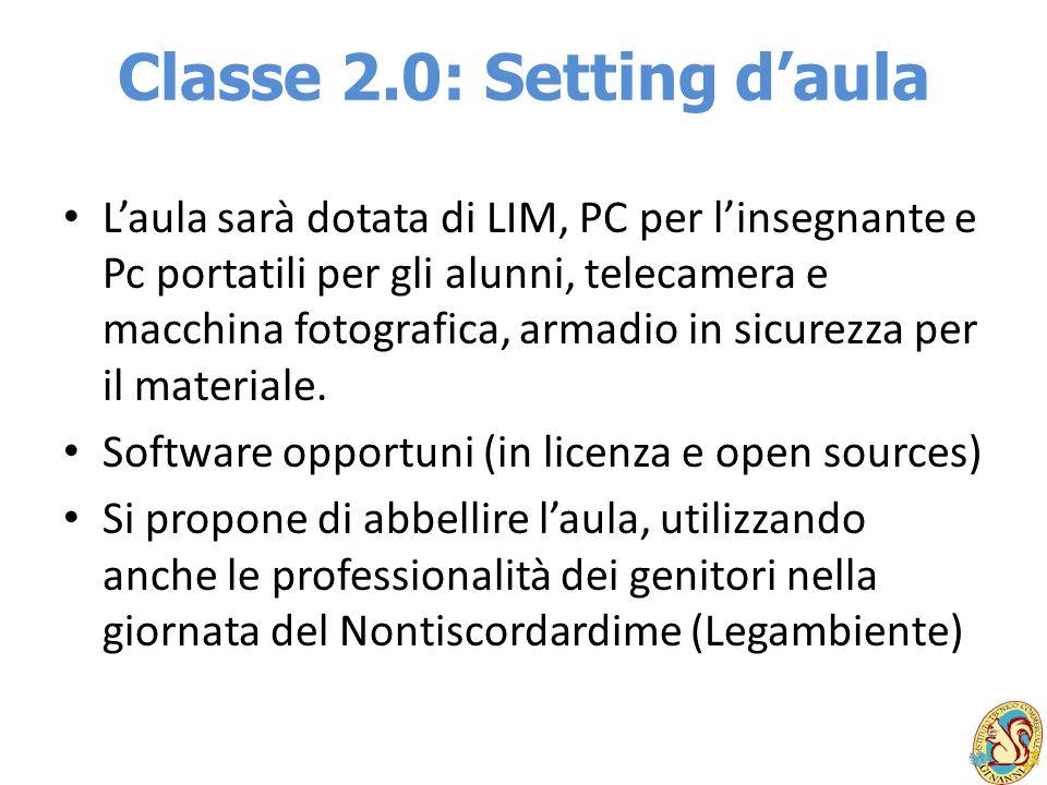 Classe 2.0: Setting daula Laula sarà dotata di LIM, PC per linsegnante e Pc portatili per gli alunni, telecamera e macchina fotografica, armadio in si