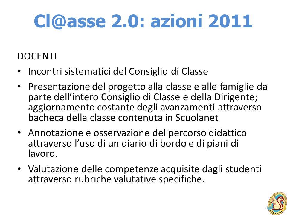 Cl@asse 2.0: azioni 2011 DOCENTI Incontri sistematici del Consiglio di Classe Presentazione del progetto alla classe e alle famiglie da parte dellinte