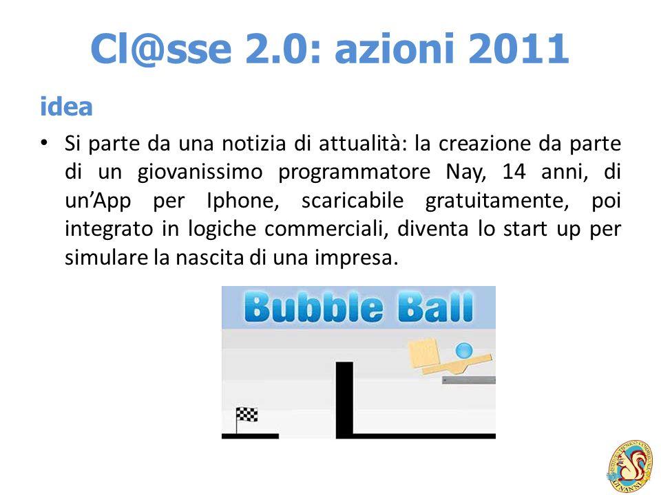 Cl@sse 2.0: azioni 2011 idea Si parte da una notizia di attualità: la creazione da parte di un giovanissimo programmatore Nay, 14 anni, di unApp per I