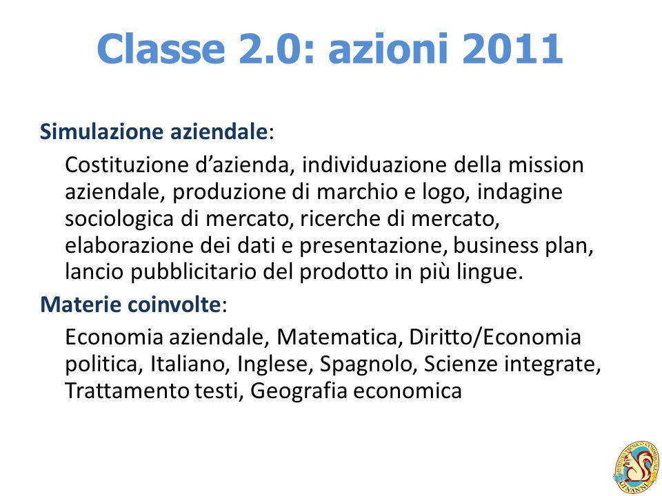 Classe 2.0: azioni 2011 Simulazione aziendale: Costituzione dazienda, individuazione della mission aziendale, produzione di marchio e logo, indagine s