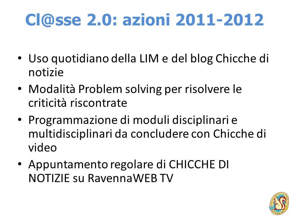 Cl@sse 2.0: azioni 2011-2012 Uso quotidiano della LIM e del blog Chicche di notizie Modalità Problem solving per risolvere le criticità riscontrate Pr