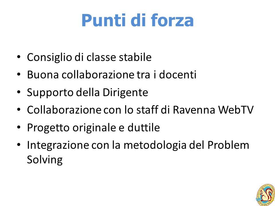 Punti di forza Consiglio di classe stabile Buona collaborazione tra i docenti Supporto della Dirigente Collaborazione con lo staff di Ravenna WebTV Pr