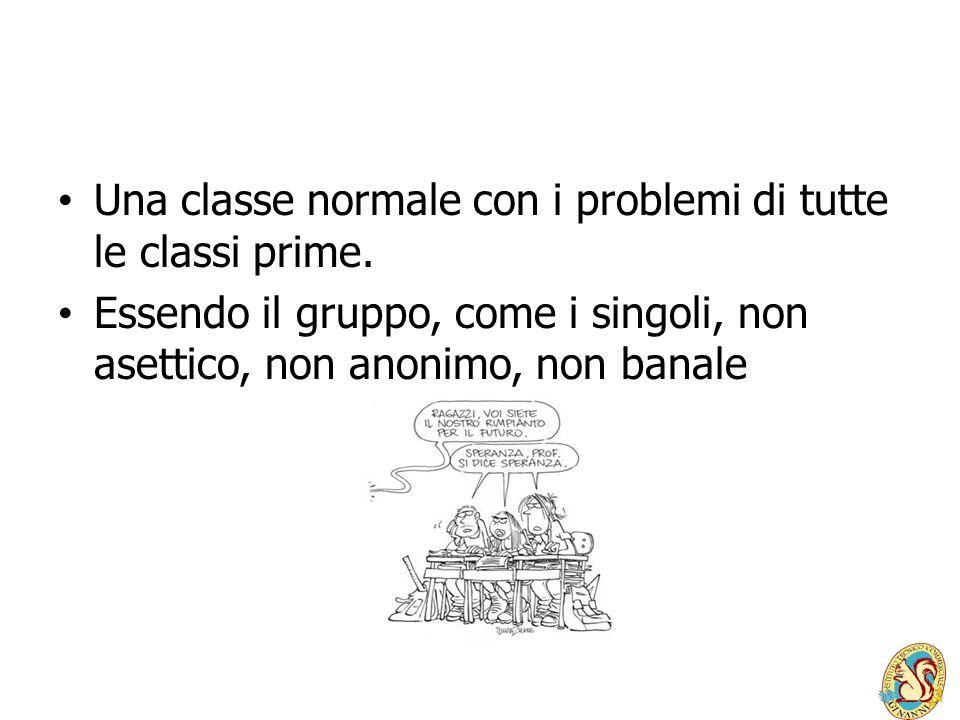 Una classe normale con i problemi di tutte le classi prime. Essendo il gruppo, come i singoli, non asettico, non anonimo, non banale