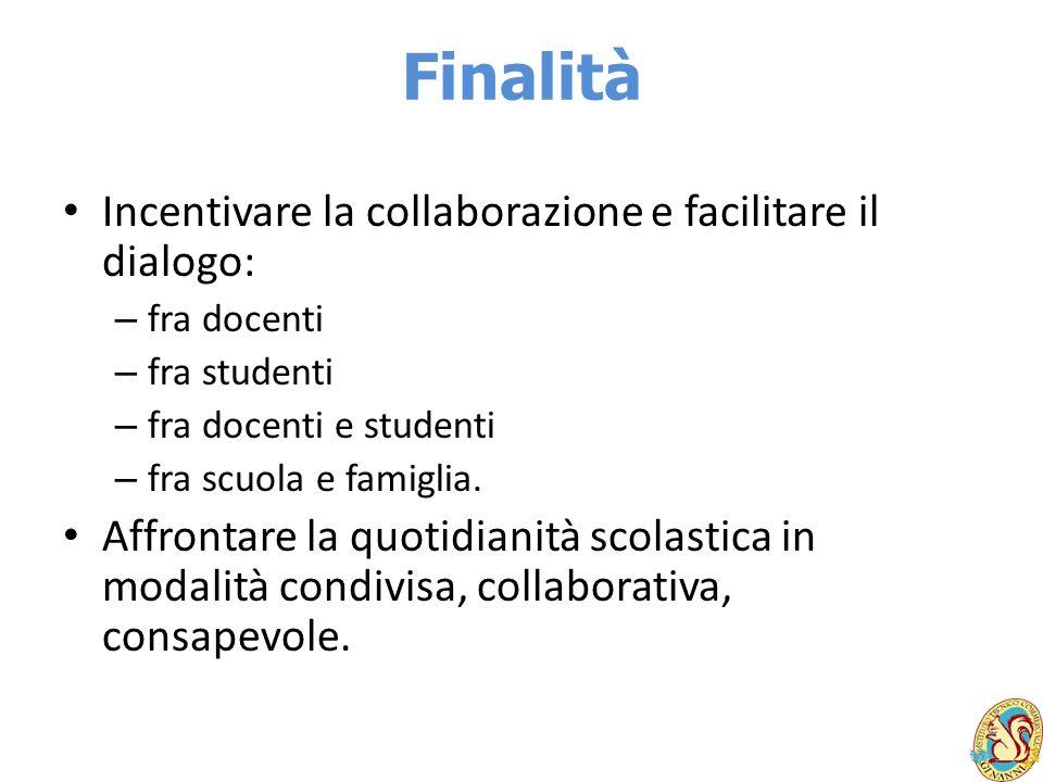 Finalità Incentivare la collaborazione e facilitare il dialogo: – fra docenti – fra studenti – fra docenti e studenti – fra scuola e famiglia. Affront