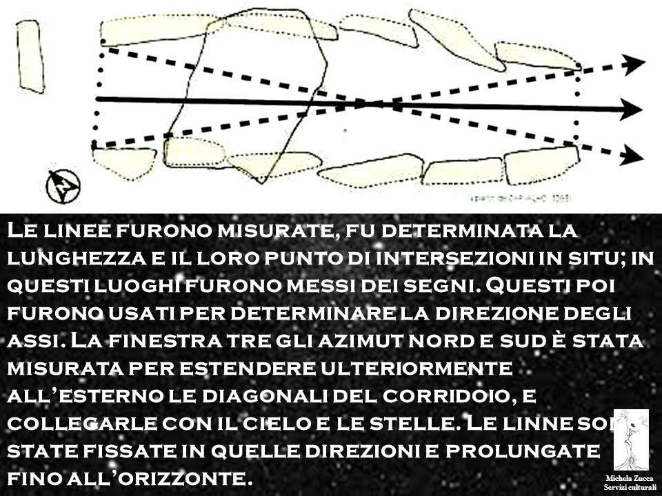 Michela Zucca Servizi culturali Le linee furono misurate, fu determinata la lunghezza e il loro punto di intersezioni in situ; in questi luoghi furono