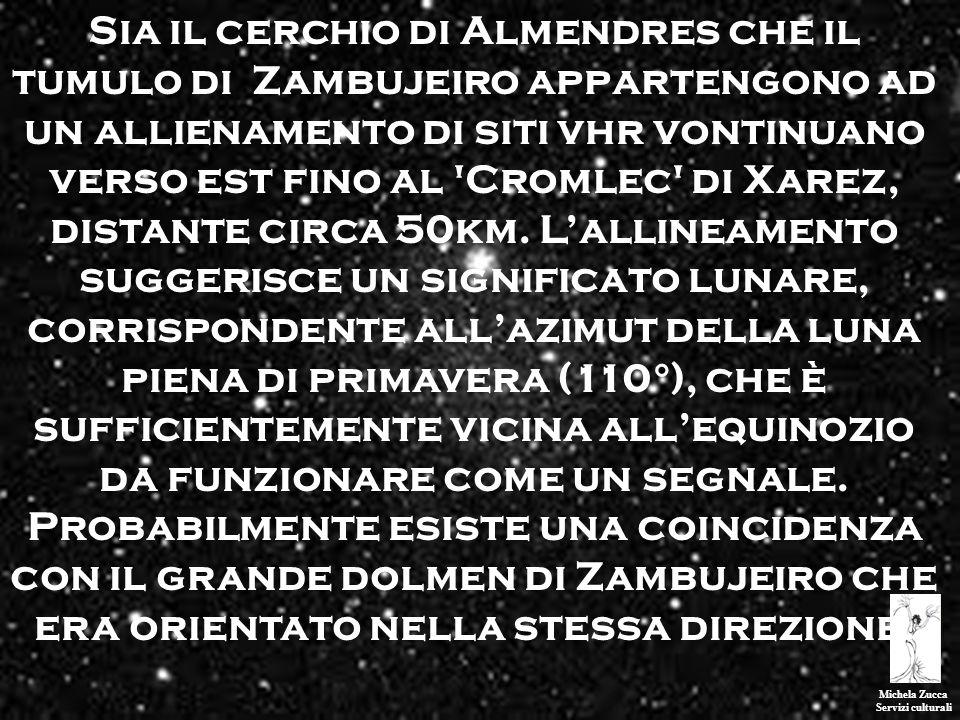 Michela Zucca Servizi culturali Sia il cerchio di Almendres che il tumulo di Zambujeiro appartengono ad un allienamento di siti vhr vontinuano verso e