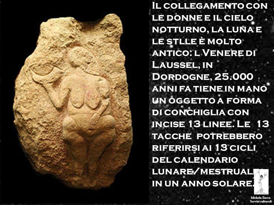 Michela Zucca Servizi culturali Il collegamento con le donne e il cielo notturno, la luna e le stlle è molto antico: l Venere di Laussel, in Dordogne,