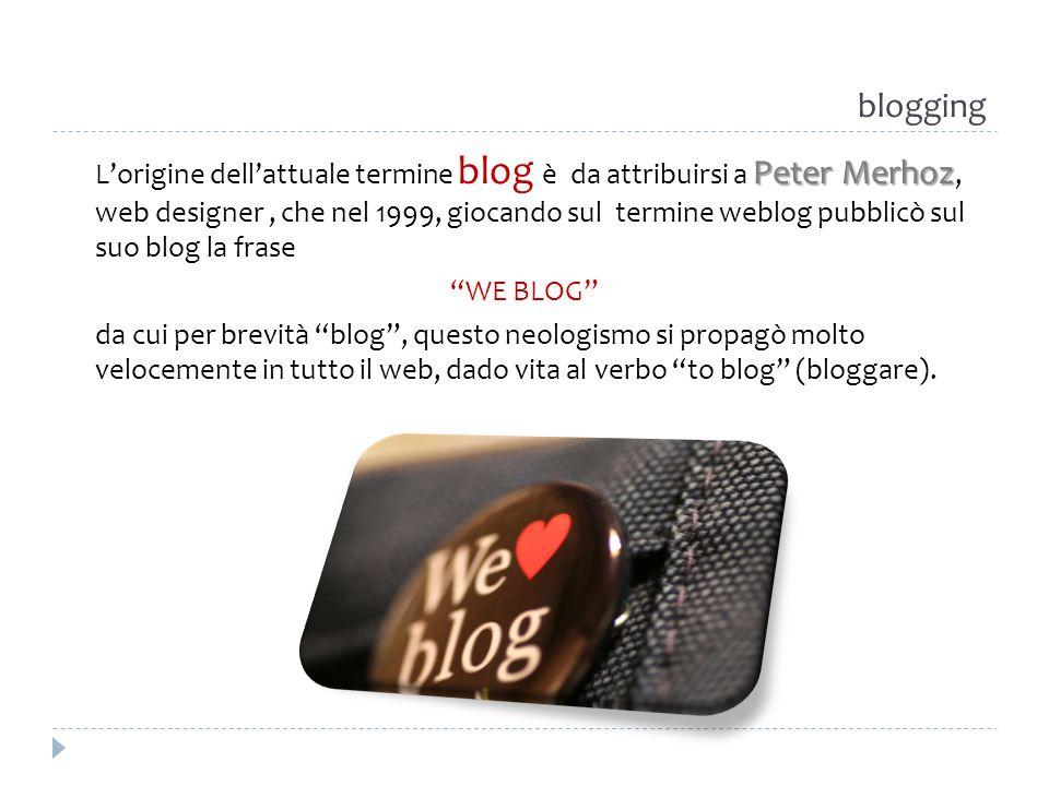 blogging Peter Merhoz Lorigine dellattuale termine blog è da attribuirsi a Peter Merhoz, web designer, che nel 1999, giocando sul termine weblog pubbl