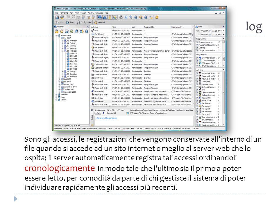 log Sono gli accessi, le registrazioni che vengono conservate allinterno di un file quando si accede ad un sito internet o meglio al server web che lo