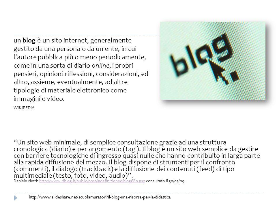 Un sito web minimale, di semplice consultazione grazie ad una struttura cronologica (diario) e per argomento (tag ). Il blog è un sito web semplice da