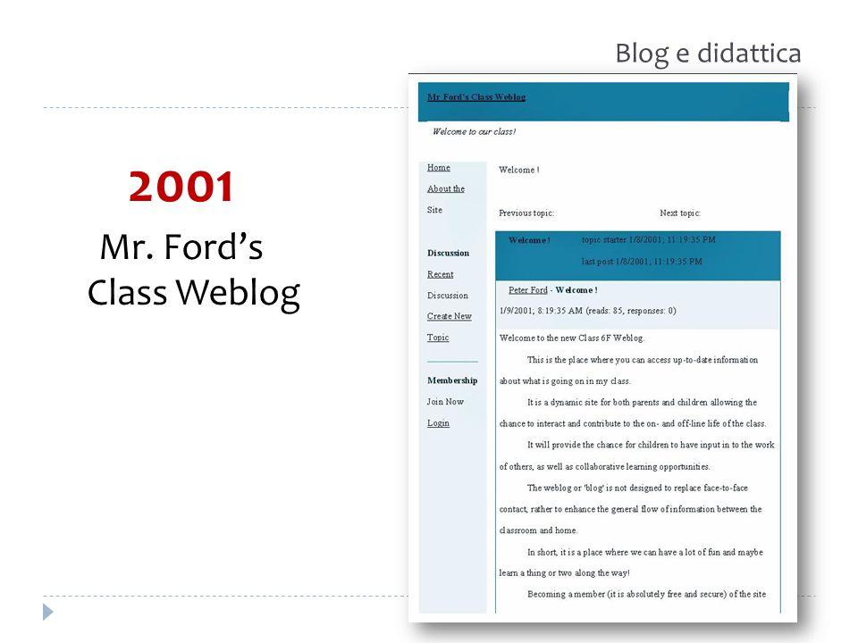 2001 Mr. Fords Class Weblog Blog e didattica