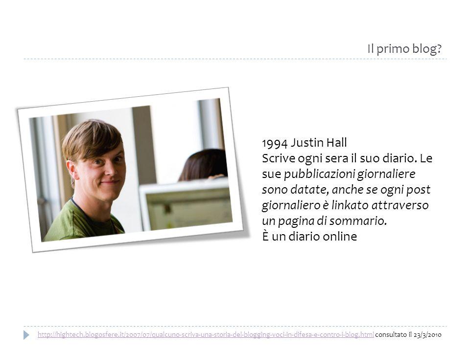 1994 Justin Hall Scrive ogni sera il suo diario. Le sue pubblicazioni giornaliere sono datate, anche se ogni post giornaliero è linkato attraverso un
