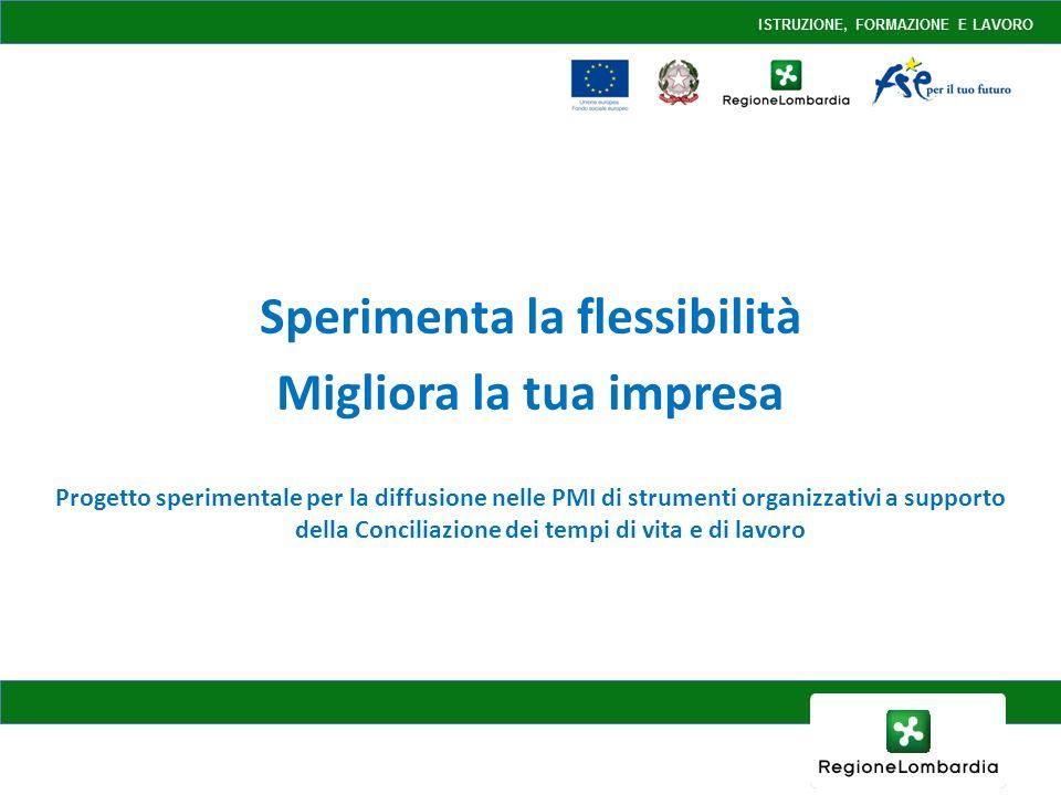 Sperimenta la flessibilità Migliora la tua impresa Progetto sperimentale per la diffusione nelle PMI di strumenti organizzativi a supporto della Conciliazione dei tempi di vita e di lavoro