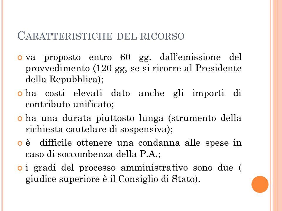 C ARATTERISTICHE DEL RICORSO va proposto entro 60 gg. dallemissione del provvedimento (120 gg, se si ricorre al Presidente della Repubblica); ha costi