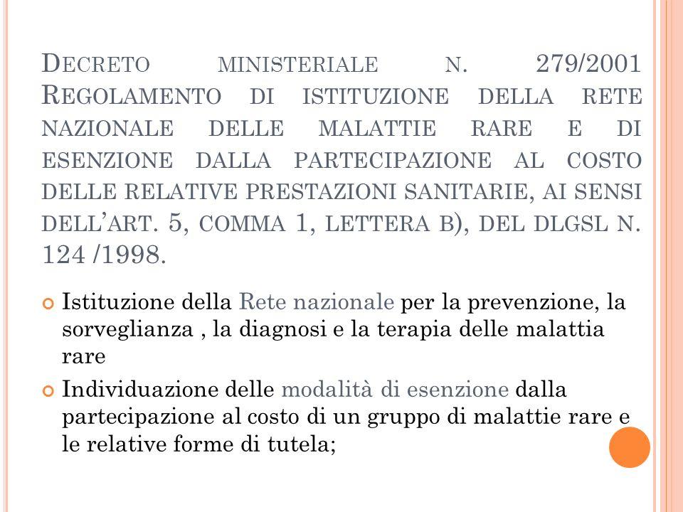 D ECRETO MINISTERIALE N. 279/2001 R EGOLAMENTO DI ISTITUZIONE DELLA RETE NAZIONALE DELLE MALATTIE RARE E DI ESENZIONE DALLA PARTECIPAZIONE AL COSTO DE