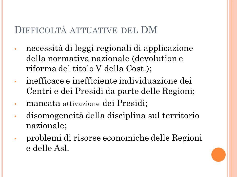 D IFFICOLTÀ ATTUATIVE DEL DM necessità di leggi regionali di applicazione della normativa nazionale (devolution e riforma del titolo V della Cost.); i