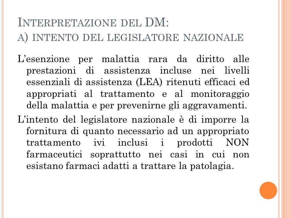 I NTERPRETAZIONE DEL DM: A ) INTENTO DEL LEGISLATORE NAZIONALE Lesenzione per malattia rara da diritto alle prestazioni di assistenza incluse nei live