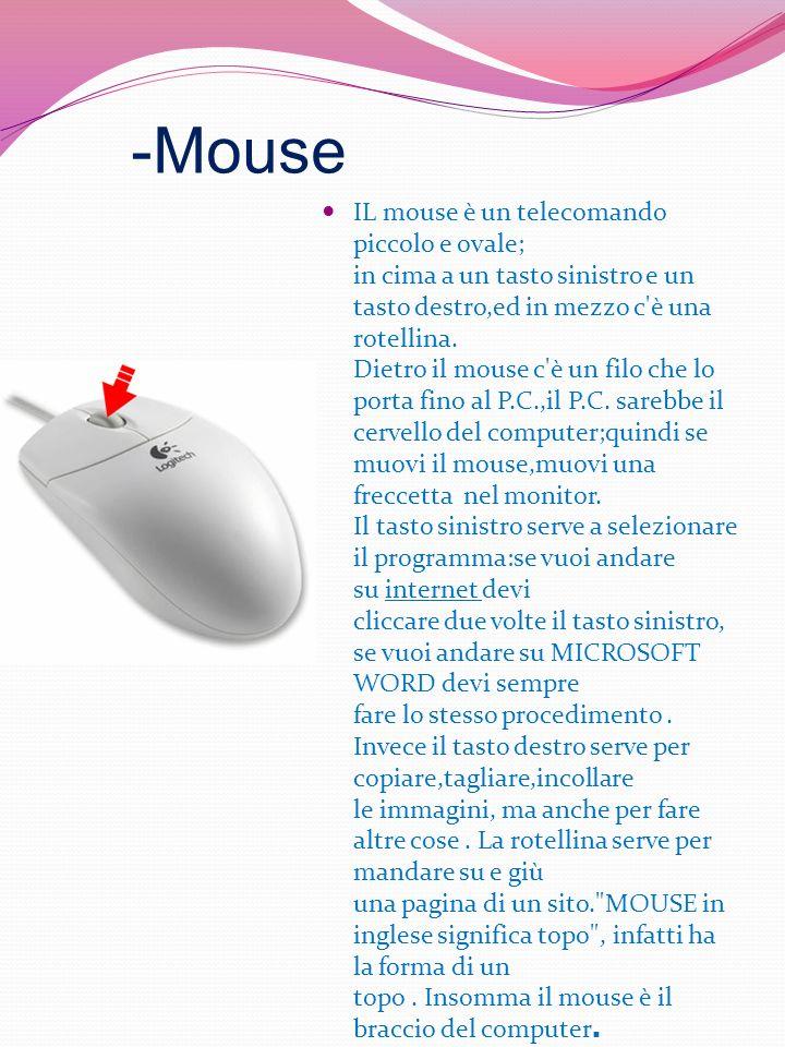 -Mouse IL mouse è un telecomando piccolo e ovale; in cima a un tasto sinistro e un tasto destro,ed in mezzo c'è una rotellina. Dietro il mouse c'è un