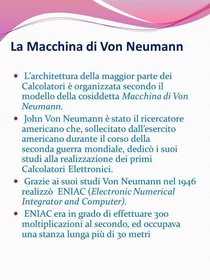 Hardware e Software Modello di Von Neumann Architettura di un elaboratore Prima scomposizione di un sistema informatico : Hardware: componenti fisici del sistema Software: i programmi che vengono eseguiti dal sistema Il confine tra hardware e software in realtà non è sempre ben definito: in generale, vi è uno strato intermedio (il firmware) costituito da programmi direttamente mappati su circuiti elettronici.